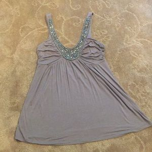 Gray dressy tank with sequins